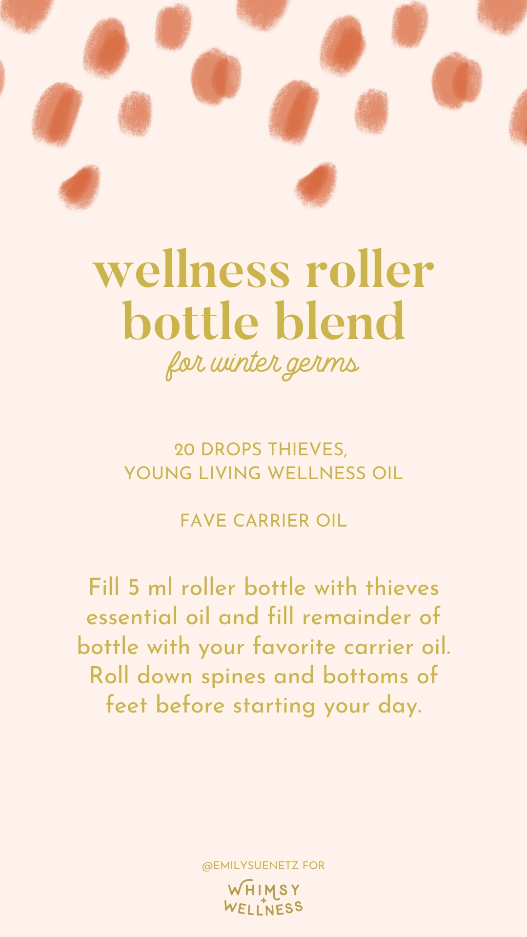 wellness roller bottle blend for winter germs with young living thieves Emily Sue Netz for Whimsy and Wellness