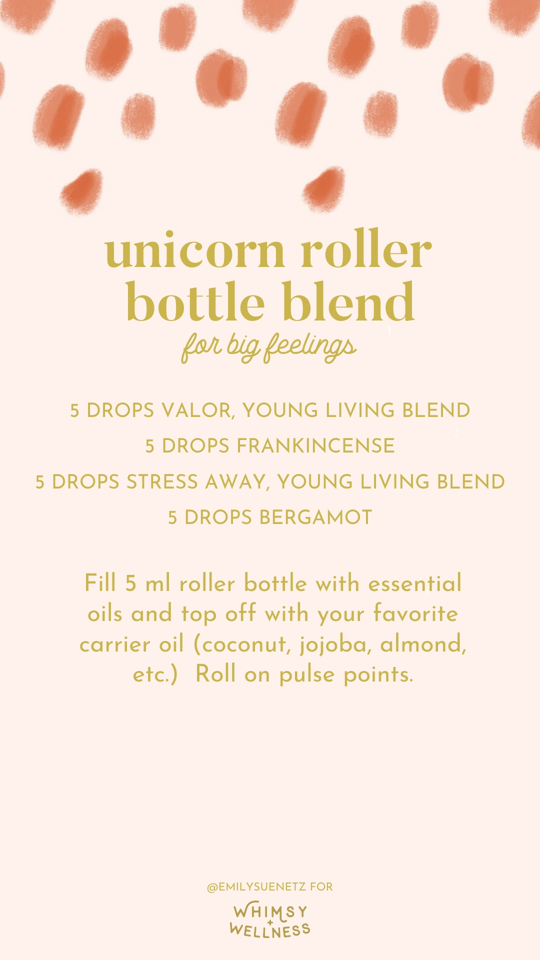 unicorn roller bottle blend for big feelings with young living essential oils Emily Sue Netz for Whimsy and Wellness