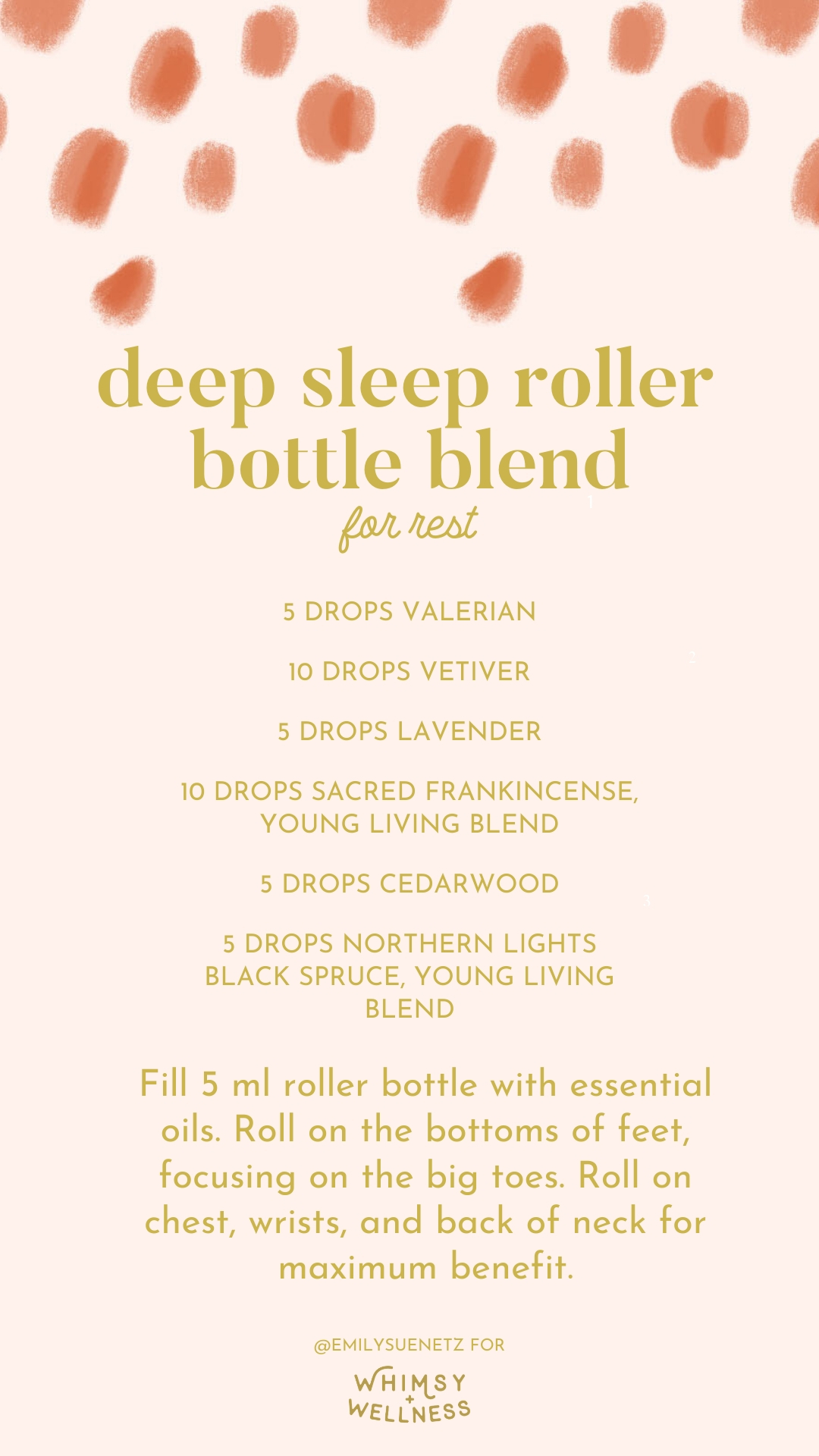 deep sleep roller bottle blend with young living essential oils Emily Sue Netz for Whimsy and Wellness