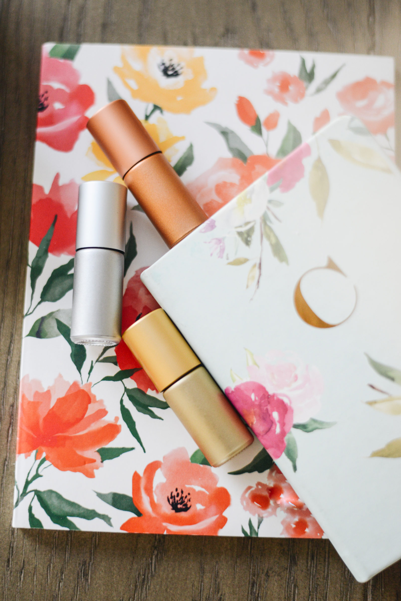 floral journal with creative journaling prompts and whimsy + wellness metallic trio 5ml essential oil roller bottles