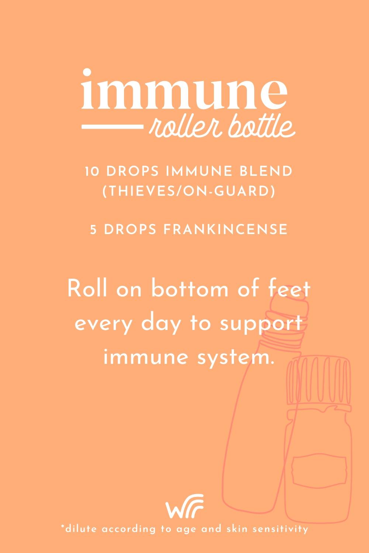 immune essential oil roller bottle blend whimsy + wellness
