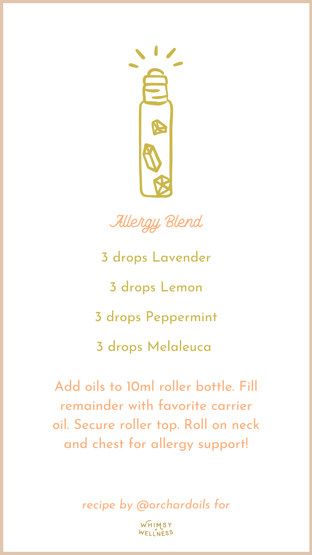 allergy roller bottle blend with essential oils and fairytale collection whimsy + wellness