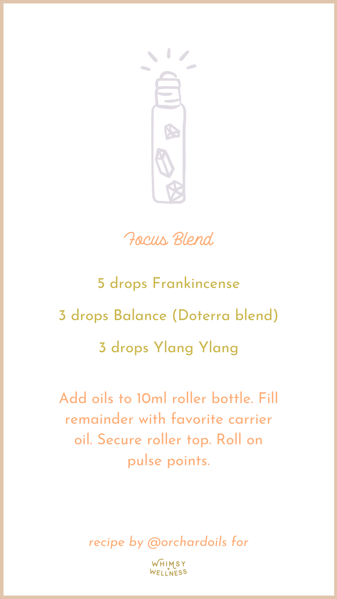 focus roller bottle blend with essential oils and fairytale collection whimsy + wellness
