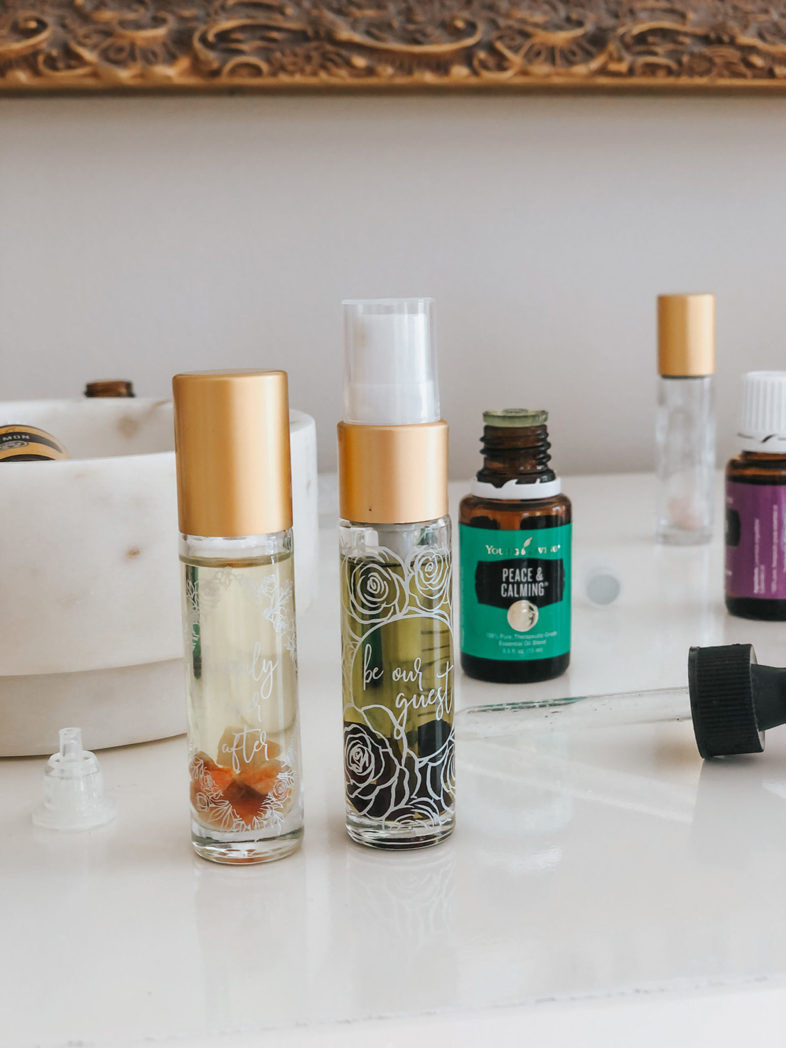 peace and calming young living essential oil blend in whimsy + wellness fairytale roller spray bottle