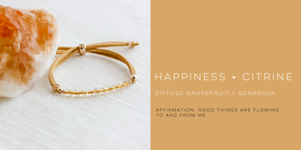 citrine gemstone bracelet with affirmation and essential oil blend