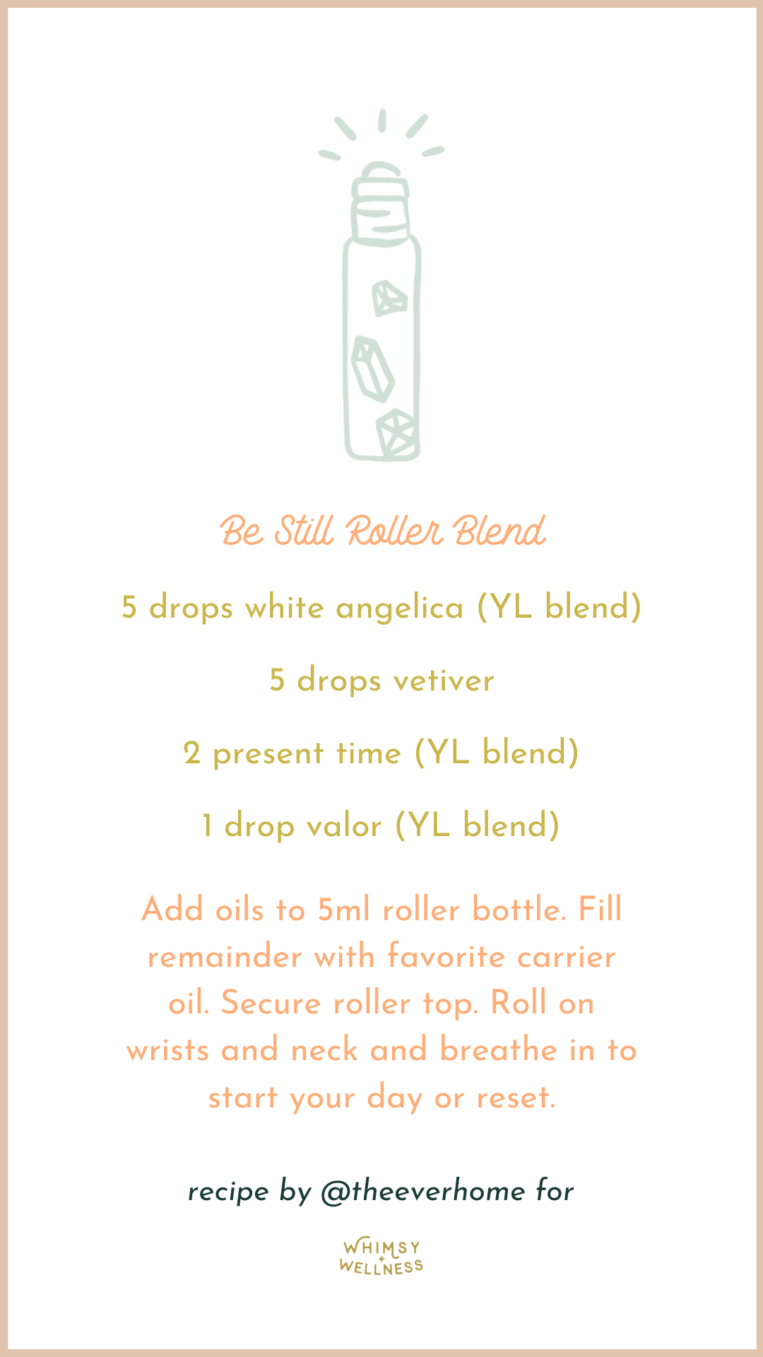 Be Still Roller Blend with young living essential oils Whimsy + Wellness