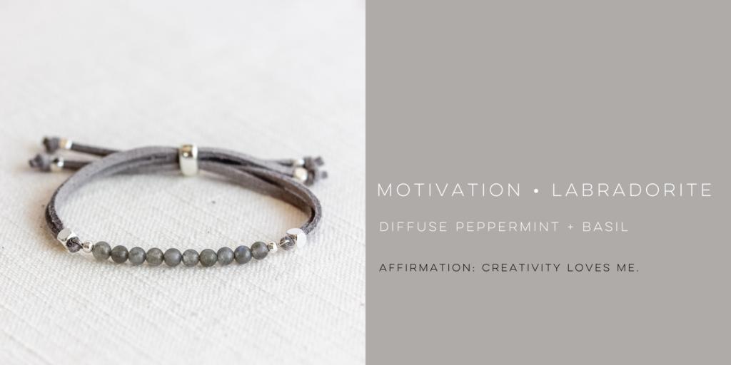labradorite gemstone bracelet with affirmation and essential oil blend