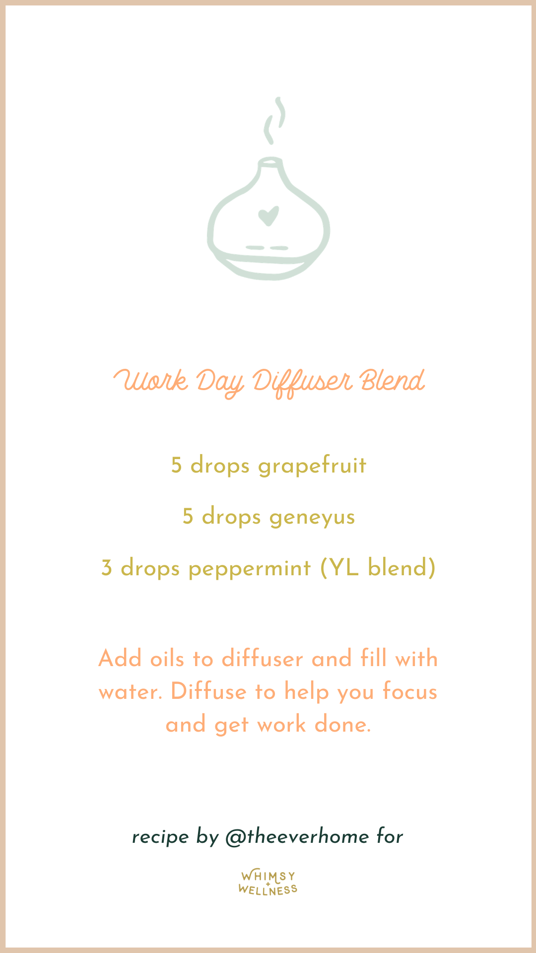 Work Day Diffuser Blend with diffuser Whimsy + Wellness