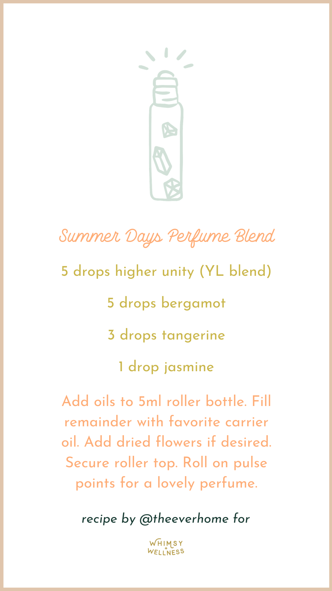 Summer Days Perfume Roller Blend with young living essential oils Whimsy + Wellness