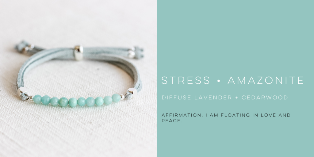amazonite gemstone bracelet with affirmation and essential oil blend