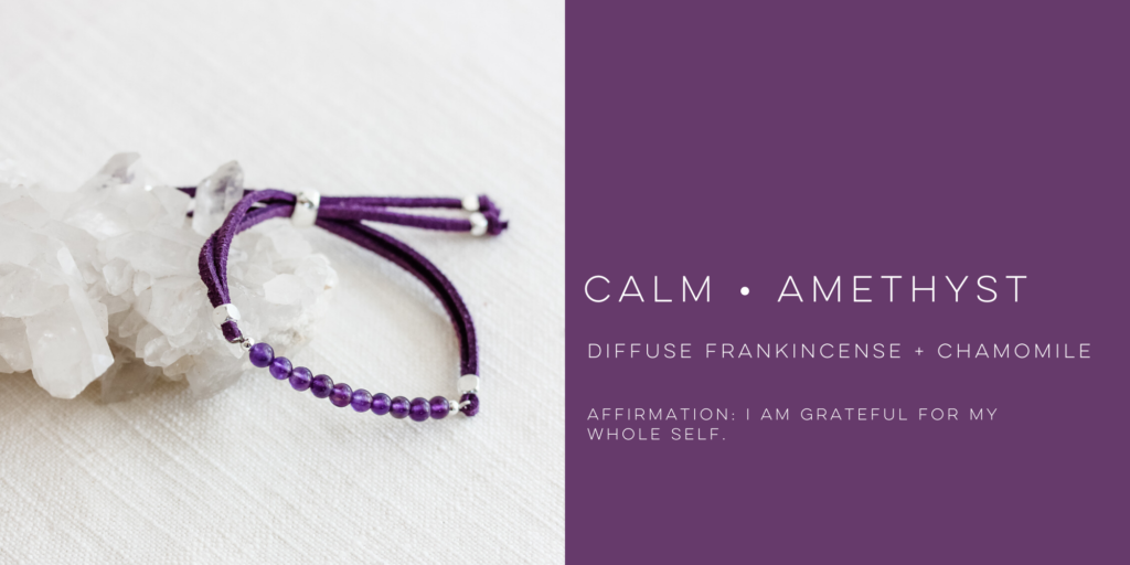 diffuse essential oils on healing amethyst bracelet