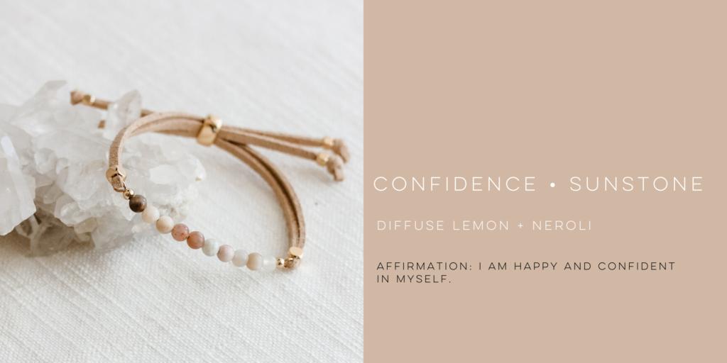 diffuse essential oils on sunstone gemstone bracelet for confidence
