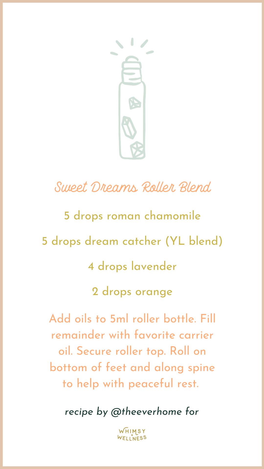 Sweet Dreams Roller Bottle Blend for essential oils Whimsy + Wellness