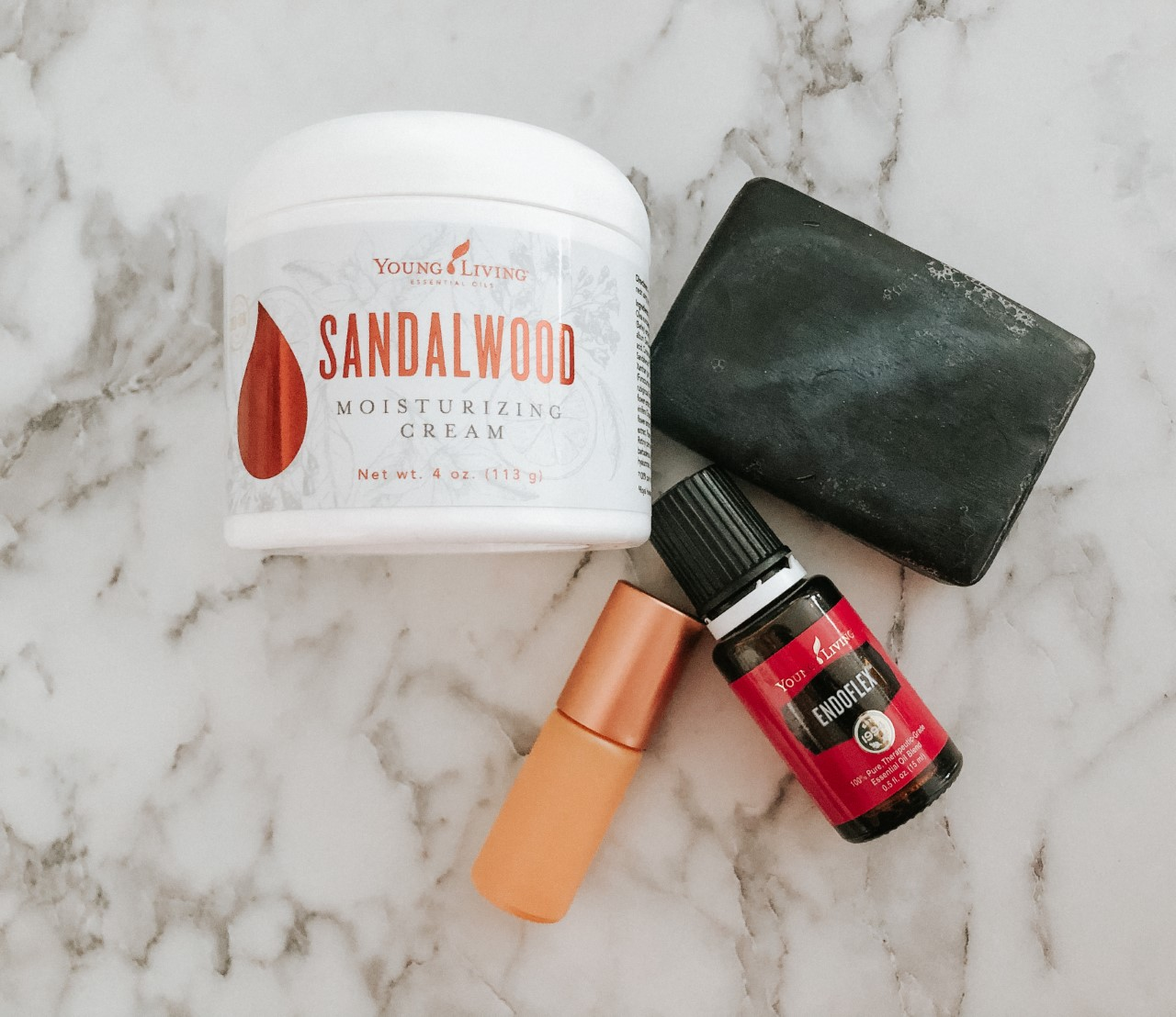Young Living Sandalwood moisturizing cream with Endoflex essential oil and Dunes Roller Bottle Whimsy + Wellness