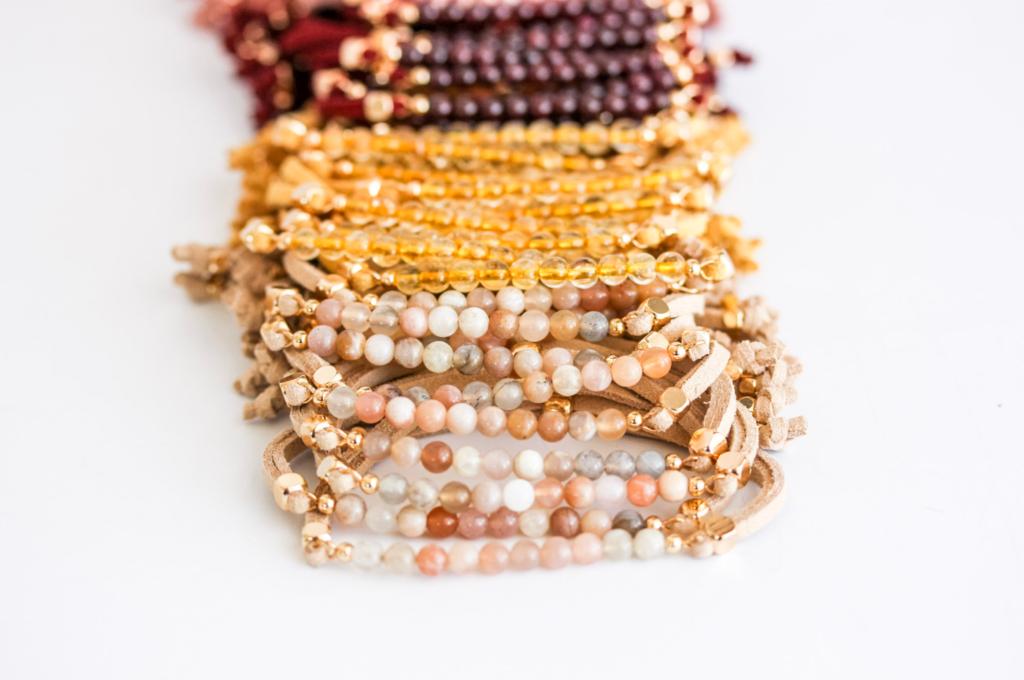 Sunstone, Citrine, Garnet crystal gemstone bracelets to diffuse essential oils.