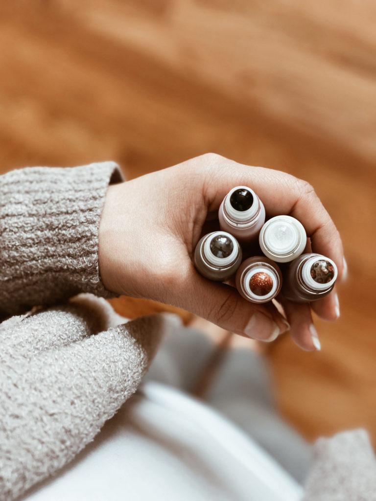 Gemstone essential oil roller bottle tops