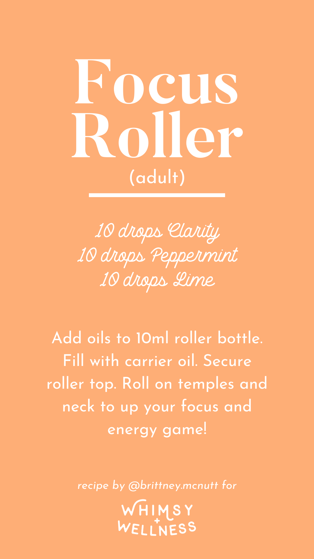Focus roller (adult) recipe blend using Young Living essential oils