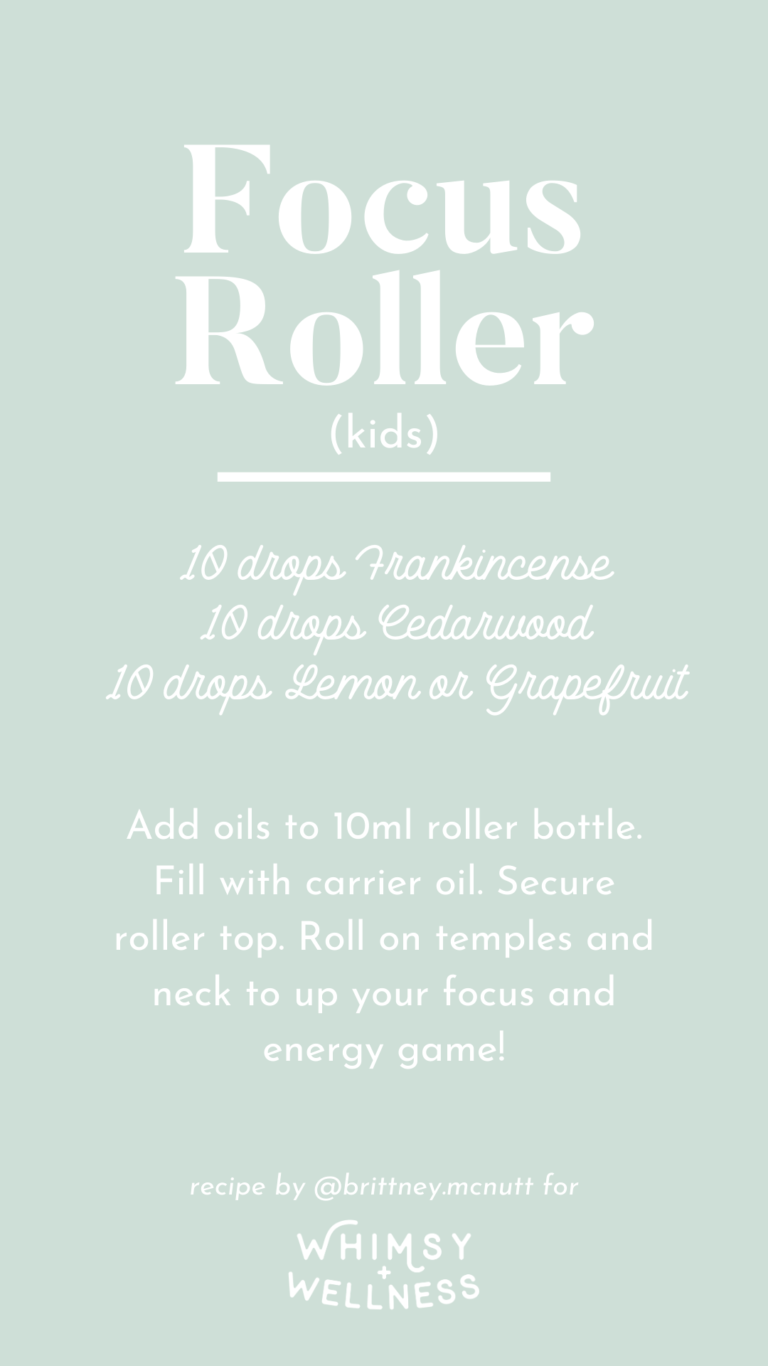 Focus roller (kids) recipe blend using Young Living essential oils