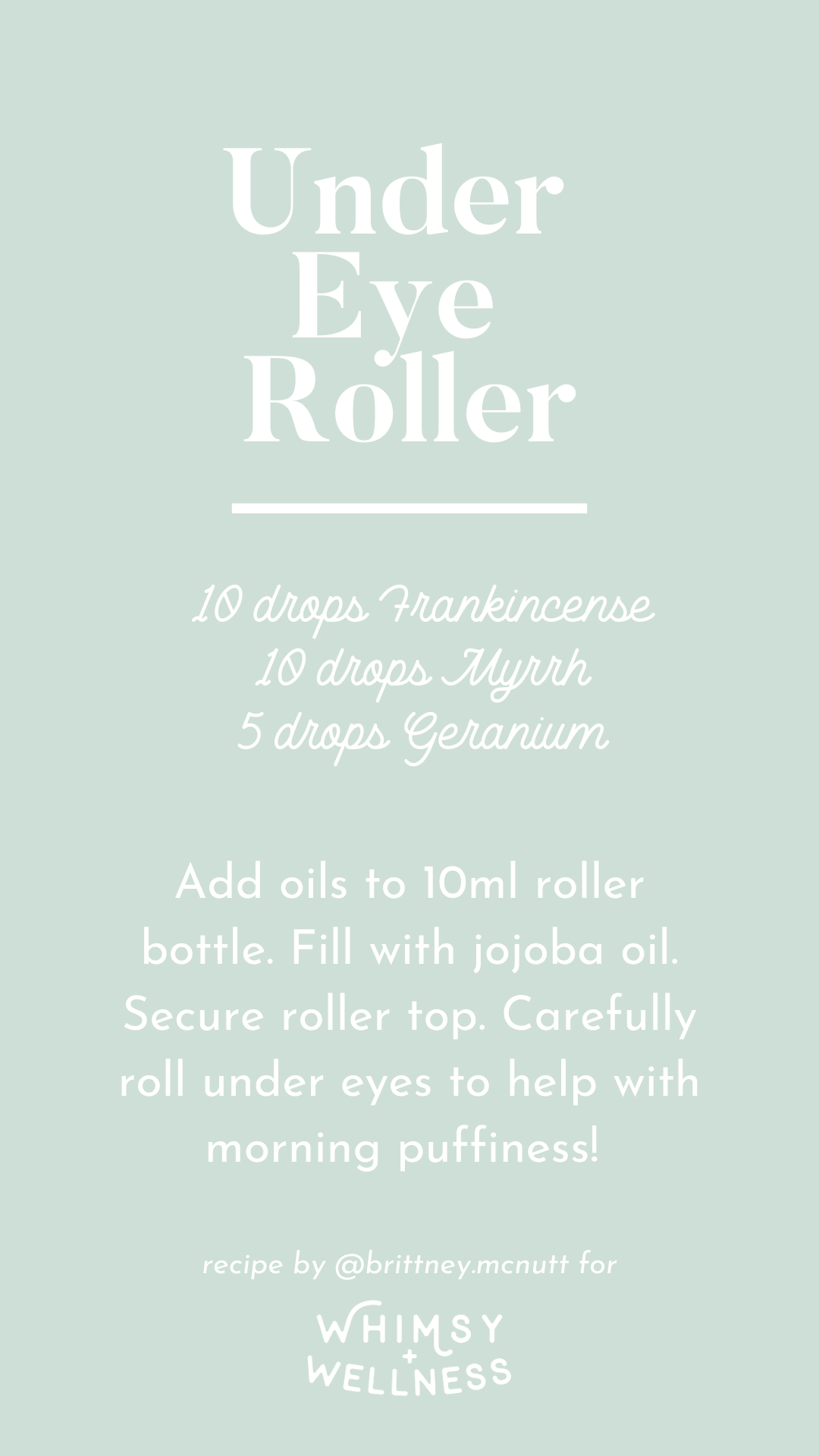 Under eye roller recipe blend using Young Living essential oils