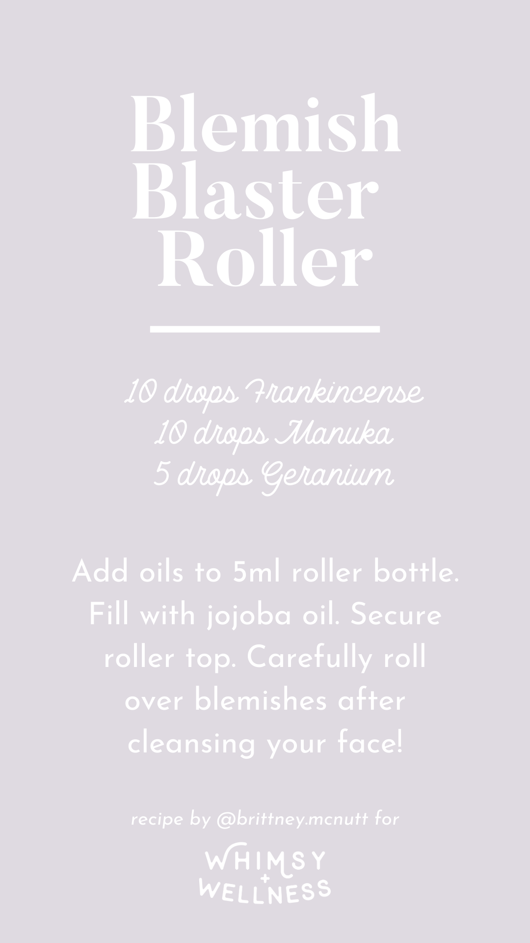 Blemish blaster roller recipe blend using Young Living essential oils