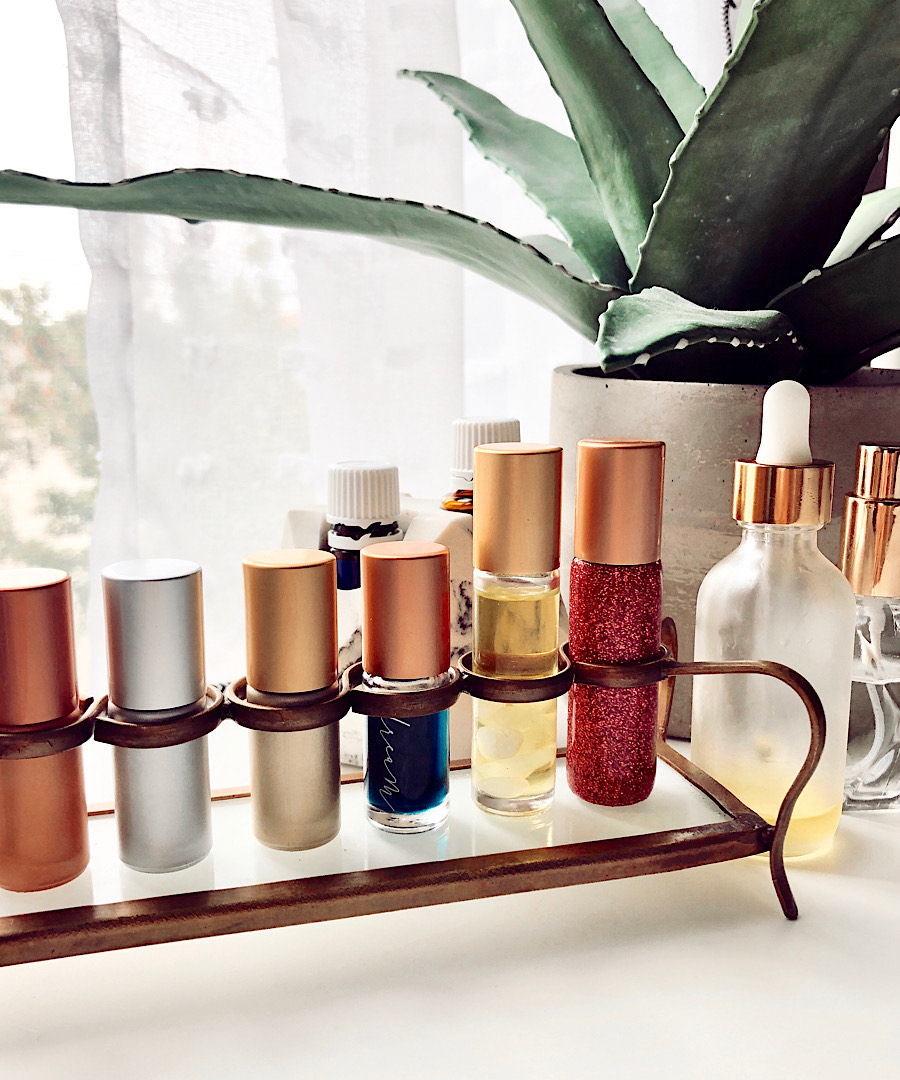 Whimsy + Wellness rollers on display