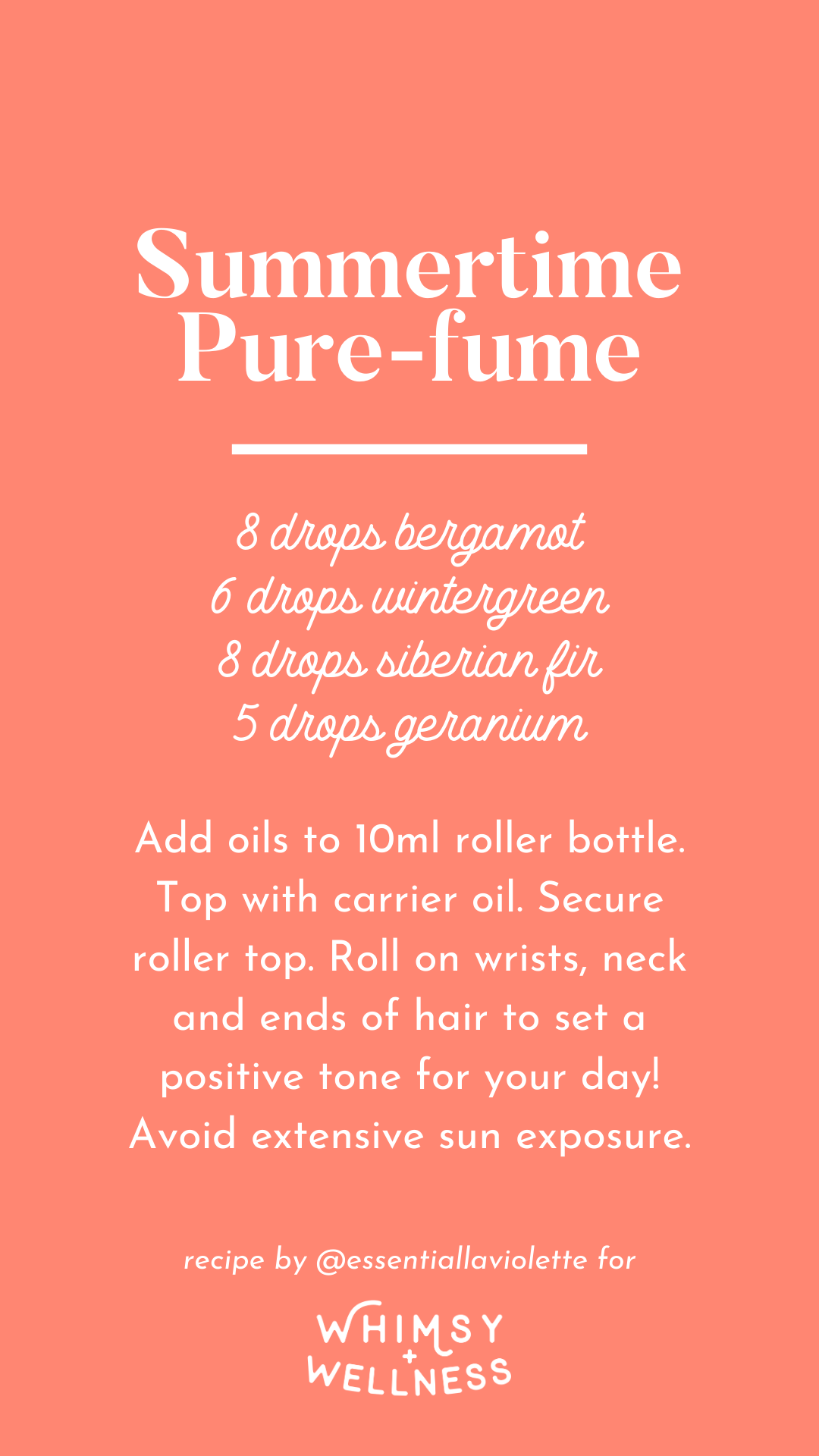 Summertime perfume roller bottle recipe using doTERRA essential oils