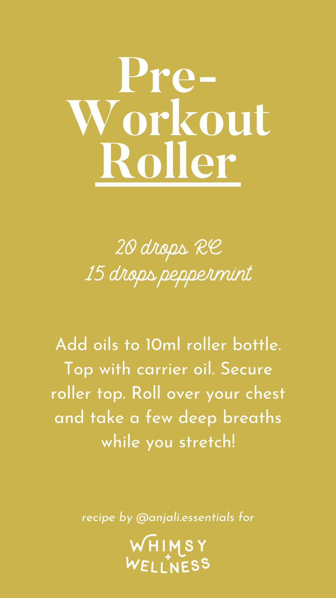 Anjali's Pre-Workout Roller recipe, made with Young Living Essential Oils