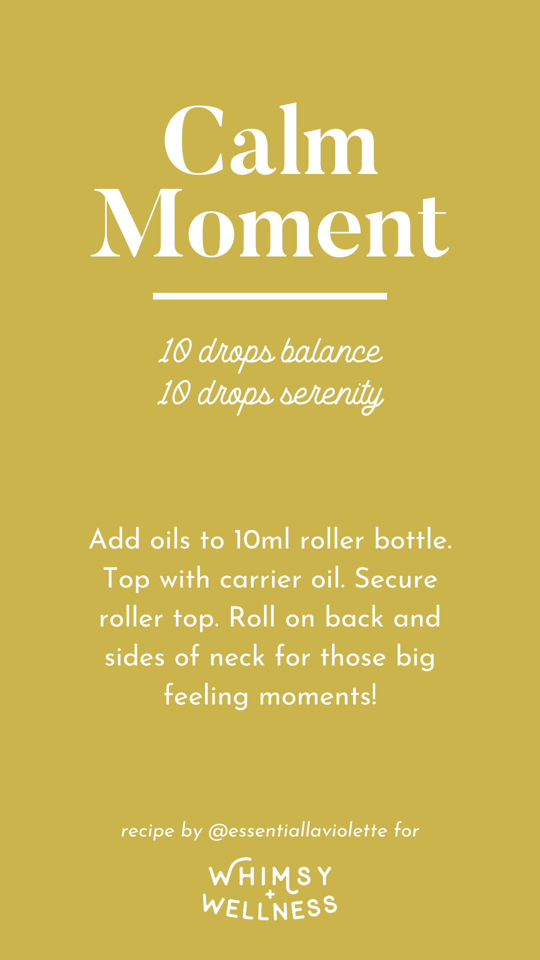 Summertime calm moment roller bottle recipe using doTERRA essential oils