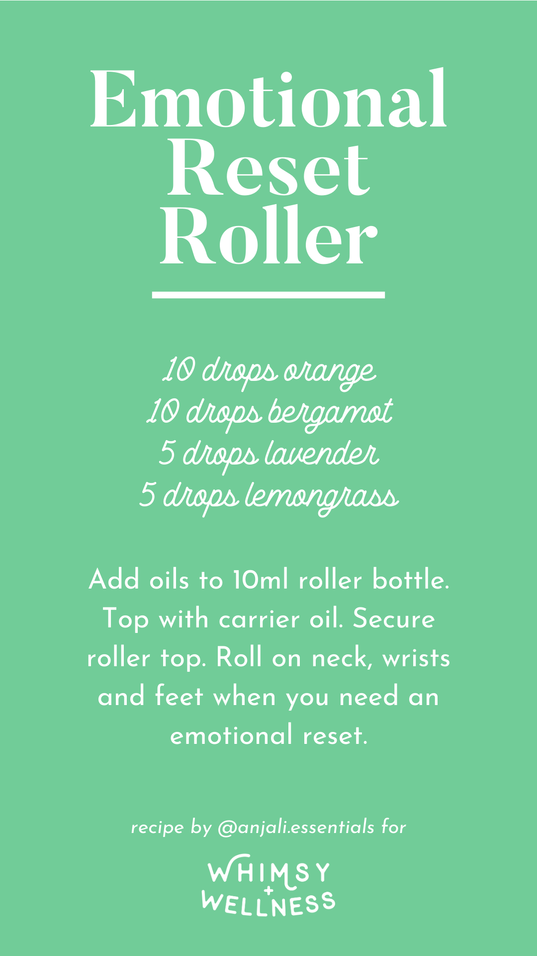 Anjali's Emotional Reset Roller recipe, made with Young Living Essential Oils