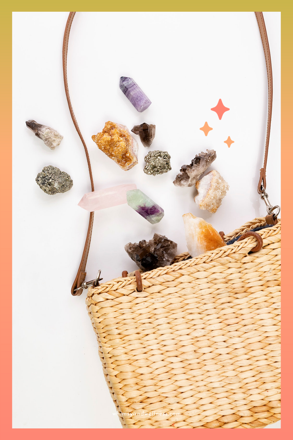 handheld crystals spilling out of wicker purse