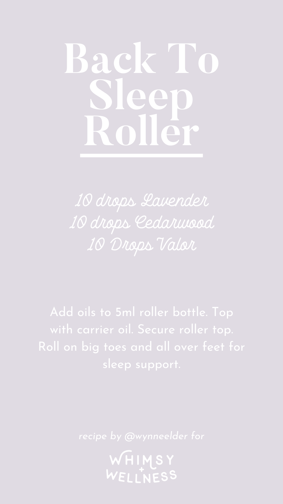 Wynne Elder uses a Whimsy + Wellness roller with Young Living Essential oils for sleep support during pregnancy.
