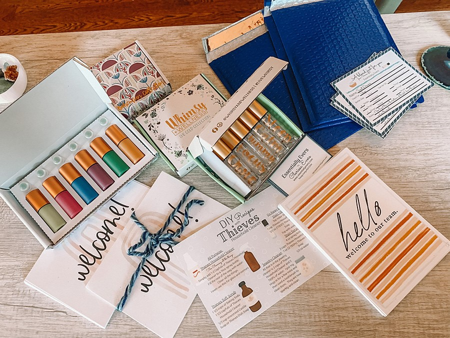Clarissa Evers from @essentiallyevers shares how she makes a thoughtful and quality welcome package to gift to her new Young Living team members.