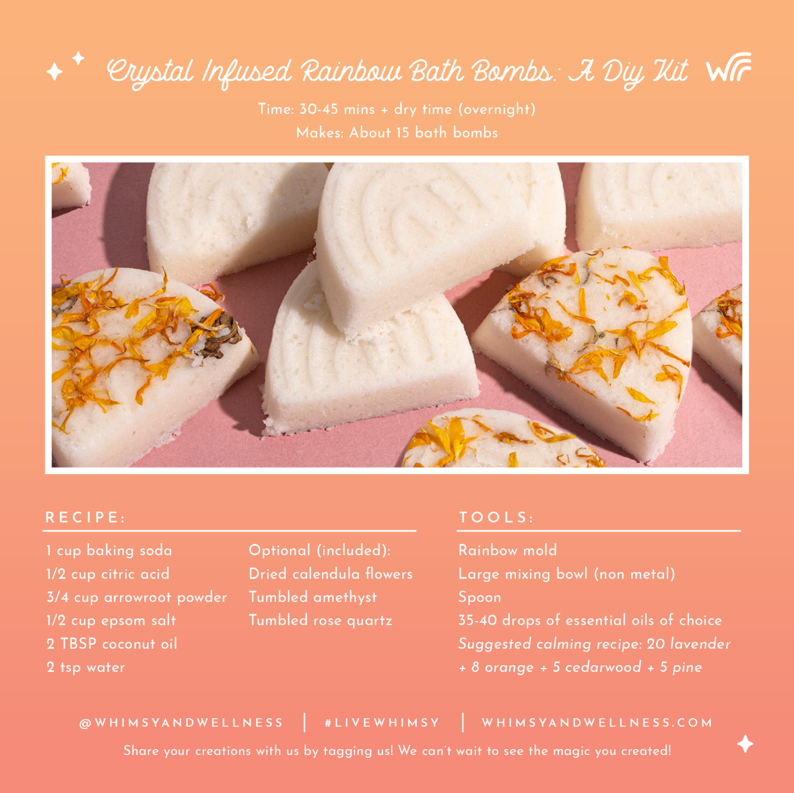 Step by Step Instructions to make bath bombs with the whimsy + wellness DIY kit