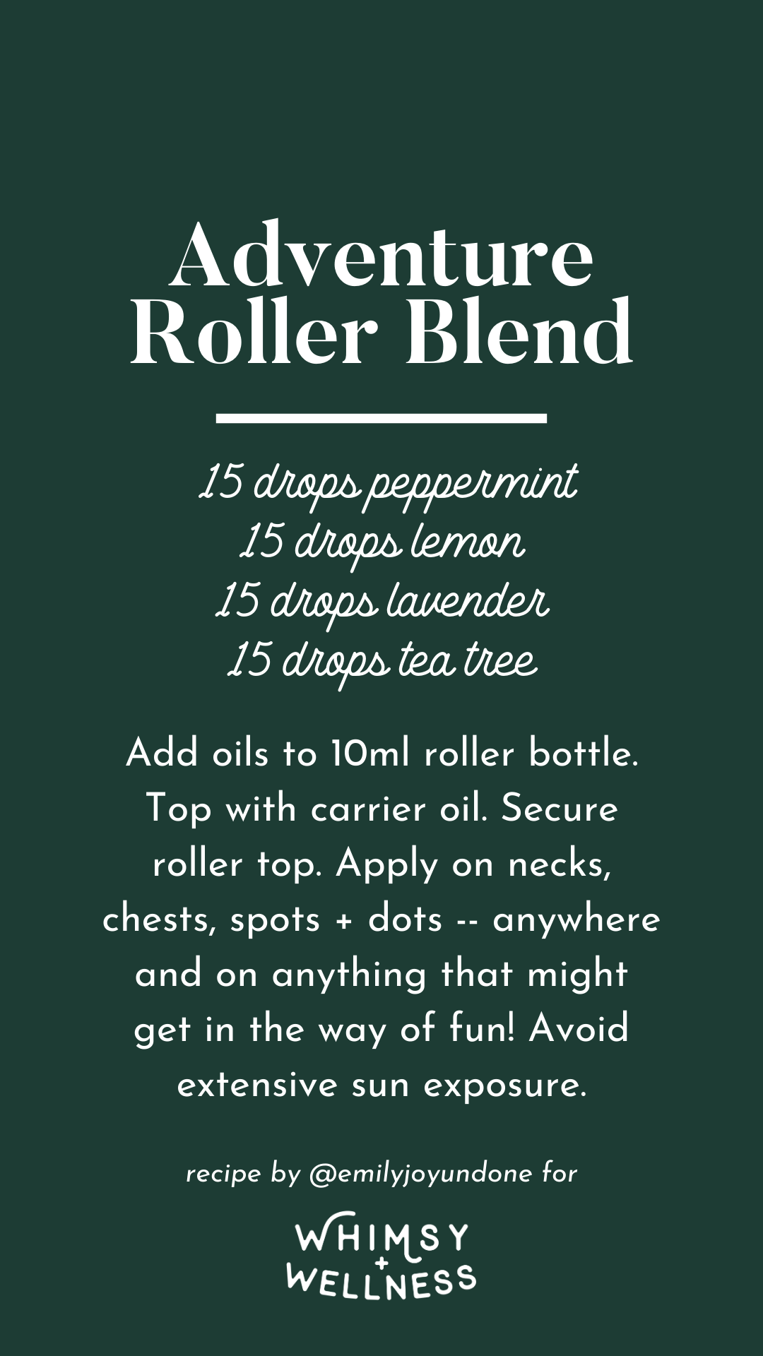Adventure Roller Blend using Whimsy + Wellness Wild Child Set and Young Living Essential Oils