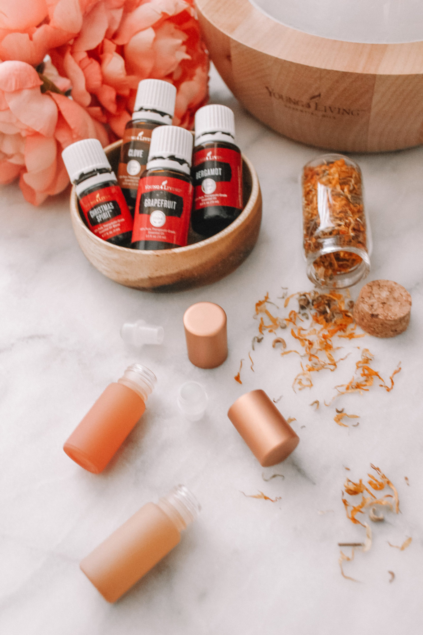 Aubrey Kinch shares her favorite fall diffuser recipes using Young Living essential oils and Whimsy + Wellness products
